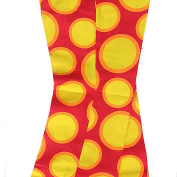 1960's Bell Bottom Pants, YELLOW Circles on Red– Vintage Dead Stock, Adj. Waist