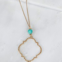 Single Bead Pendant Necklace Gold