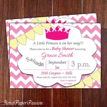 Baby Shower Invitation, Chevron, Pink, Girl Shower, Princess Invite, Printable, Free Thank you card
