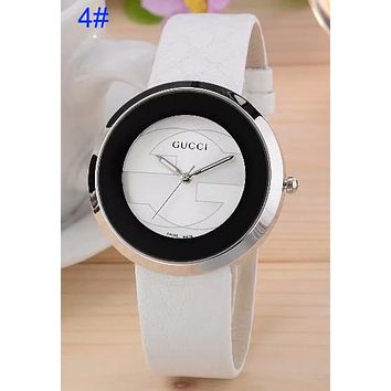 Gucci Pu Watchband More Print Logo watches men's and women's fashion watches B-CTZL White