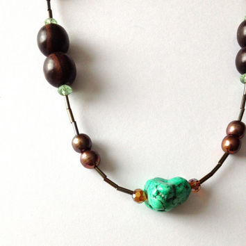 Long Brown and Green Turquoise Necklace