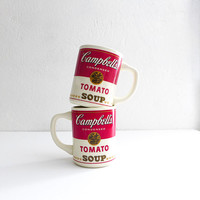 Vintage Campbells Tomato Soup Mugs Campbells Soup Retro Kitchen Red White Vintage Mugs Retro Coffee Mugs Vintage Coffee Mug Set