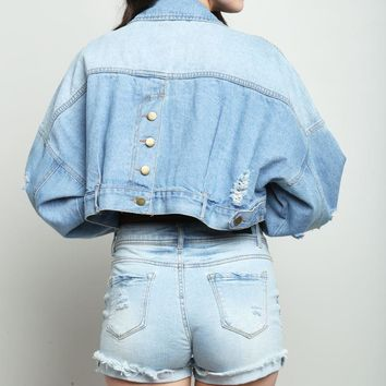 Junior Buttoned Back Cropped Denim Jacket Jackets GS-LOVE
