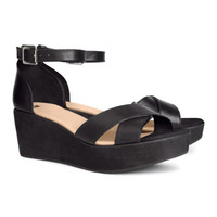 H&M - Platform Sandals - Black - Ladies