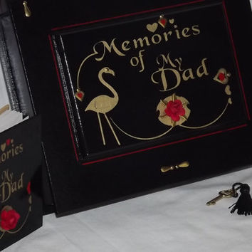 Memories of DAD. Wooden lockable box and a FREE matching notebook. Black & Gold with a handmade flower. Memorial box. Memory box. Love Dad