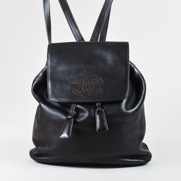 VINTAGE Chanel Brown Lambskin Leather 'CC' Drawstring Backpack