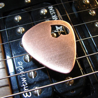 Love Guitar Pick in Copper with Heart Cut Out