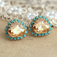 Stud earrings Turquoise Topaz Champagne Rhinestone Crystal bridesmaids gifts bridal - 14k 1 micron Thick plated gold real swarovski