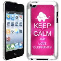 Apple iPod Touch 4 4G 4th Generation Hot Pink B1934 hard back case cover Keep Calm and Love Elephants