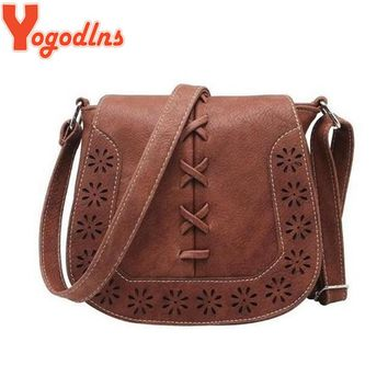 Yogodlns High Quality Women 's Handbag Spanish Brand 2017 hollow out Crossbody Bags Women Leather Handbags Shoulder Small bag