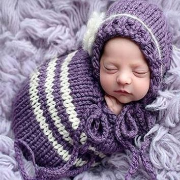 Baby Knit Purple Cocoon Sleeping Bag Sack Newborn Prop - CCC259
