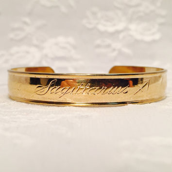 Vintage Avon Zodiac Astrology Sagittarius Adjustable Gold Cuff Bracelet Signed Avon