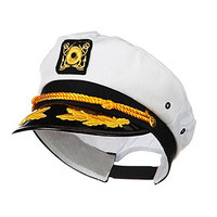 Zeroyoyo Unsiex White Yacht Captain Skipper Sailor Boat Cap Costume Hat