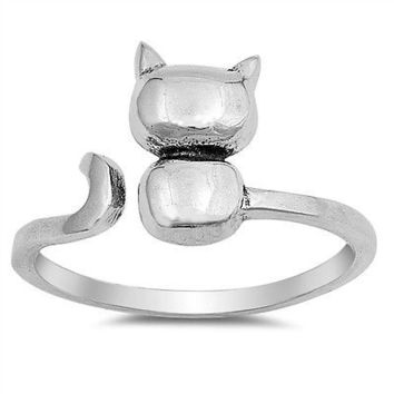 Sterling Silver 925 PRETTY CAT DESIGN ADJUSTABLE SILVER RING 11MM SIZES 4-12
