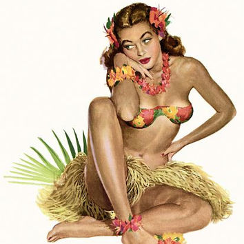 Pin Up Girl Hawaiian Girl With Hula Dress Poster