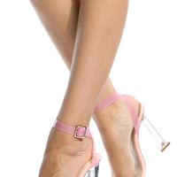 Pink Chunky Wrap Around Vinyl Heels @ Cicihot Heel Shoes online store sales:Stiletto Heel Shoes,High Heel Pumps,Womens High Heel Shoes,Prom Shoes,Summer Shoes,Spring Shoes,Spool Heel,Womens Dress Shoes