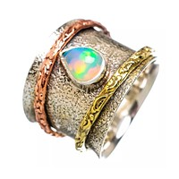 Spinner Ring Ethiopian Opal Pear