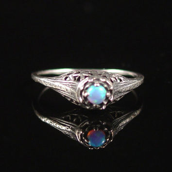 Opal Ring, Sterling Silver, Size 5, Edwardian Style, Vintage Jewelry, Filigree Ring, Art Deco Ring, Antique Ring, 925 Ring, Sterling Opal
