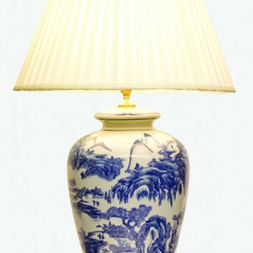 PAIR of Porcelain Vase Lamps in Blue and Light Stone with  Rural Scenes