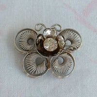 Unusual Retro Modernist Butterfly Brooch Coils Sparkling Rhinestone Vintage