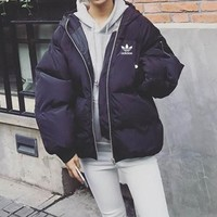 """Adidas"" Women Simple Fashion Zip Cardigan Hooded Long Sleeve Cotton-padded Clothes Bread Service Jacket Coat"