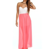 White/Neon Pink Strapless Lace Maxi Dress