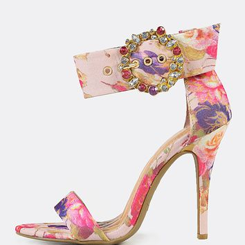 Jeweled Buckle Ankle Strap Floral Print Single Band Stiletto Heel BLUSH MULTI