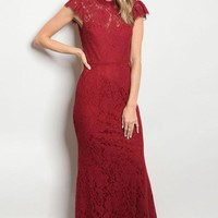 Ravishing Red Lace Gown