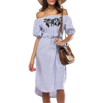 Casual Blue Striped T shirt Summer Dress Women Off the Shoulder Floral Embroidery Sexy Beach Midi Dress Sundress