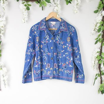 Vintage Floral Denim Button Up Shirt