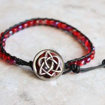 Red Celtic sister knot bracelet