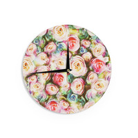 """Dawid Roc """"Pastel Rose Romantic Gifts"""" Green Photography Wall Clock"""