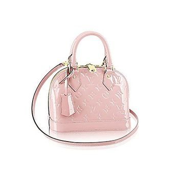 LV Women Shopping Leather Tote Louis Vuitton Monogram Vernis Leather ALMA BB Cross-Body Carry Handbag Article: M50415 RoseBalleria