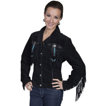 Scully Womens Leather Fringe Beaded Western Lined Jacket Black