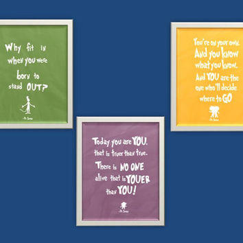 set of three dr seuss inspirational nursery quotes .. printable diy baby shower gift