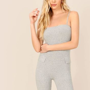 Flap Pocket Side Heathered Grey Cami Unitard Romper