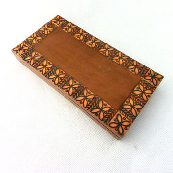 Vintage wooden jewelry box 70s