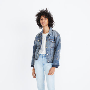 The Boxy Crop Jean Jacket: Daisy Embroidered Edition : shopmadewell jackets | Madewell