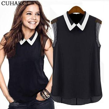 CUHAKCI Women's Chiffon Tops Summer Brand Shirt Casual Cute Turn-down Collar Tee Sleeveless White Black T-Shirts S038