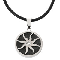 Carbon Cutout Sun Stainless Steel Cord Necklace