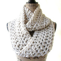 Ready To Ship Tan Cream Chunky Scarf Fall Winter Women's Accessory Infinity