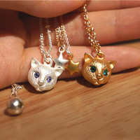 Cute Cat Head Pendant Necklace Comes In Gold And Silver Metal Colors