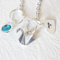 Paper swan necklace Personalized sterling silver necklace Initial necklace Custom necklace Monogram necklace Sterling silver necklace.