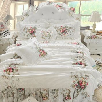 4/6/8pcs Korean Princess Bedding Set Luxury Rose Printing Lace Quilt Cover Ruffles Bedspread Bed Sheet Cotton Queen King Size