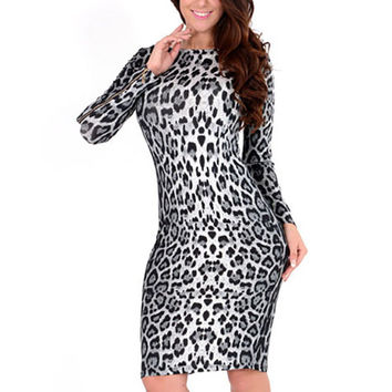 Black and White Leopard Print Long Sleeve Bodycon Midi Dress
