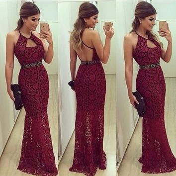 2015 Sexy Women Evening Dresses Sheath Halter Backless Crystals Long Lace Formal Party Dresses Prom Gowns