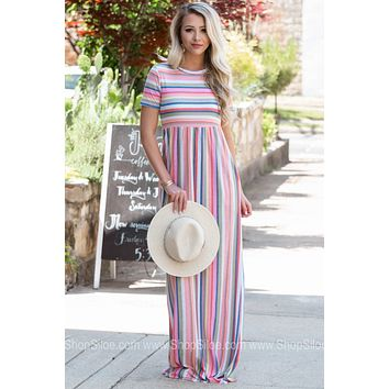 Tila Fun Striped Pocket Maxi Dress