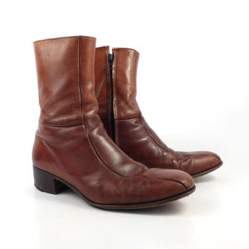 Leather Ankle Boots 1970s Florsheim Brown Euro Beatle Zip men's size 8