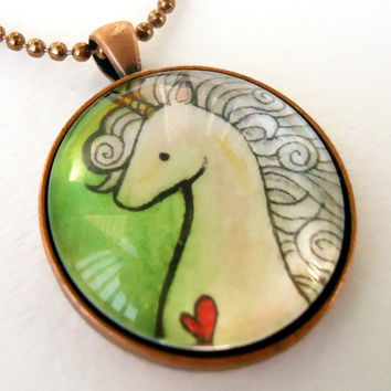 Unicorn Necklace  Hand Painted Pendant  Picture by cellsdividing