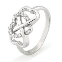Sterling Silver Heart Infinity Ring w/ Cubic Zirconia - Available Size: 4, 4.5, 5, 5.5, 6, 6.5, 7, 7.5, 8, 8.5, 9, 9.5, 10